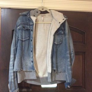 Free People built in sweatshirt jean jacket